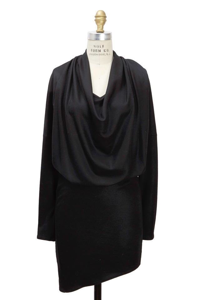 Dolman Black Wool Long Sleeve Dress