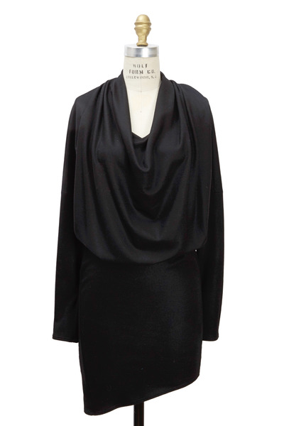 Helmut Lang - Dolman Black Wool Long Sleeve Dress