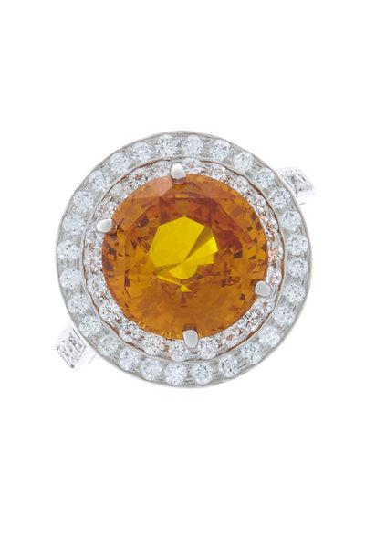 Oscar Heyman - Platinum Orange Sapphire & Diamond Cocktail Ring