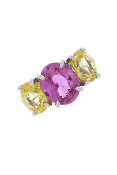 Oscar Heyman - Platinum Pink & Yellow Sapphire Cocktail Ring