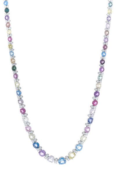 Oscar Heyman - Platinum Assorted Sapphire Diamond Necklace