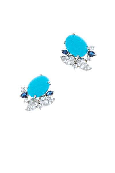 Oscar Heyman - Platinum Turquoise & Sapphire Diamond Earrings