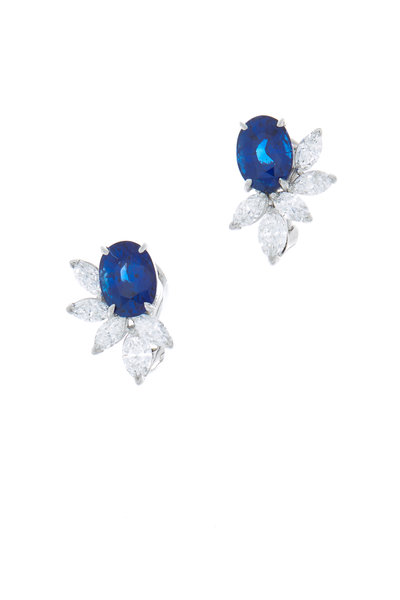 Oscar Heyman - Platinum Blue Sapphire Diamond Earrings