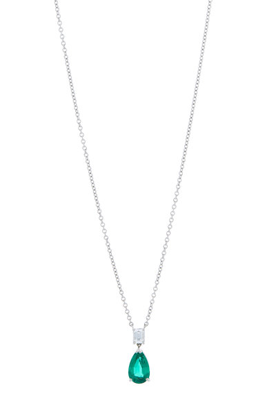Oscar Heyman - Platinum Emerald & Diamond Pendant Necklace
