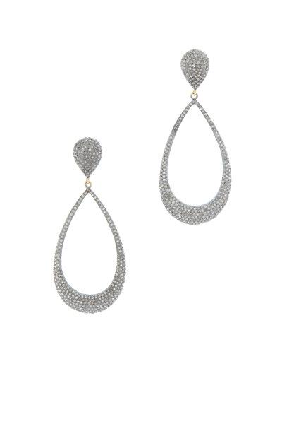 Loren Jewels - Gold & Silver Champagne Diamond Drop Earrings