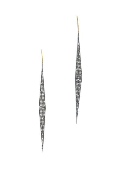 Loren Jewels - Gold & Silver Champagne Diamond Stick Earrings