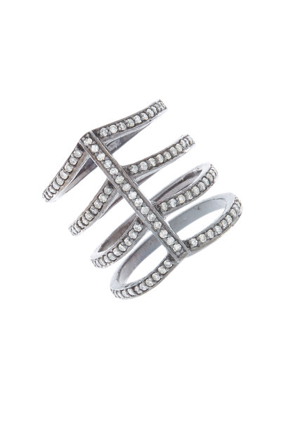 Loren Jewels - Sterling Silver Diamond Cage Ring