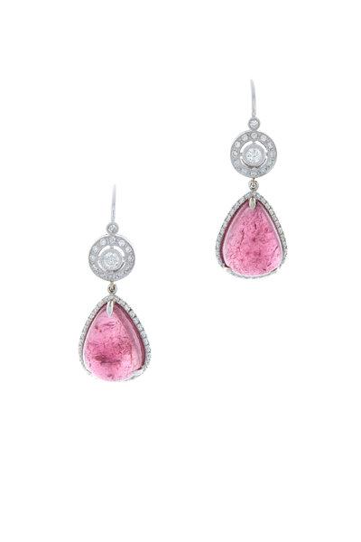 Kathleen Dughi - Gold Pink Tourmaline Diamond Halo Drop Earrings