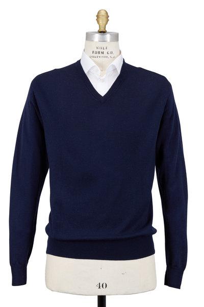 Peter Millar - Solid Navy Blue Merino Wool Sweater