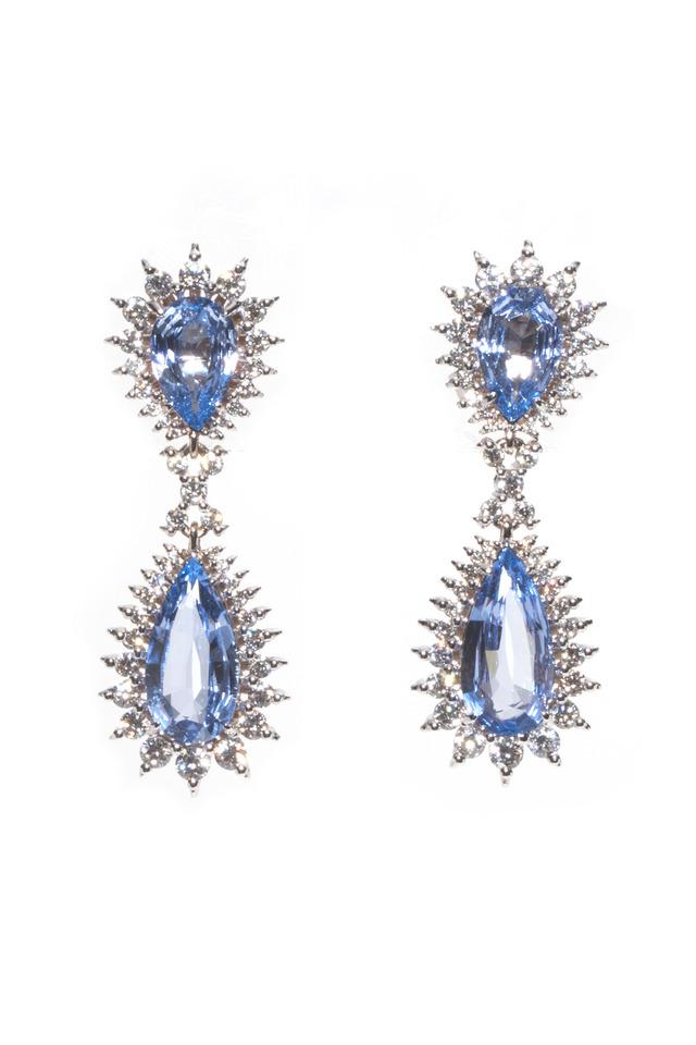 White Gold Blue Pearshape Spinel Drop Earrings