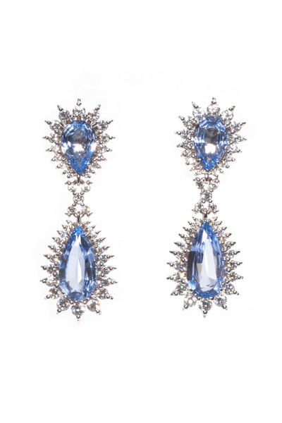 Paul Morelli - White Gold Blue Pearshape Spinel Drop Earrings