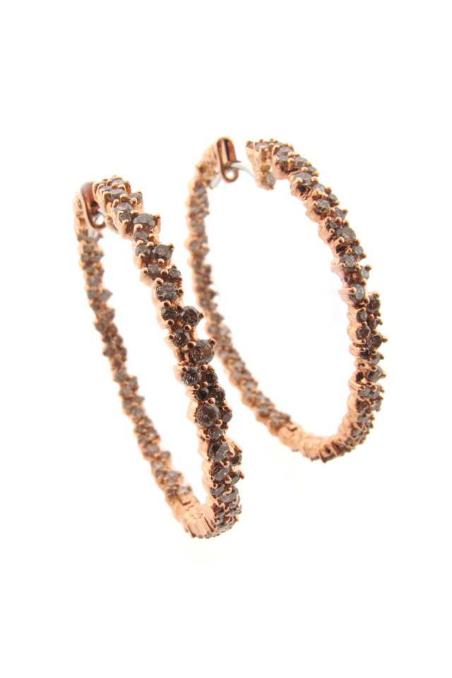 20K Pink Gold Confetti Diamond Hoops