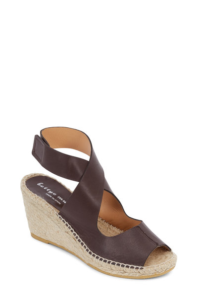 Bettye Muller - Mobile Brown Leather Espadrille Wedge, 75mm