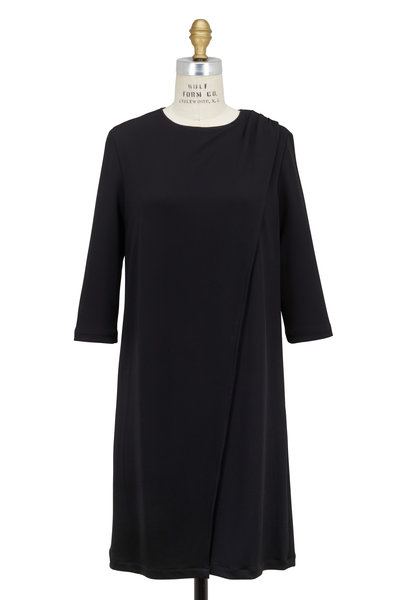 Kiton - Black Jersey Drape Front Dress