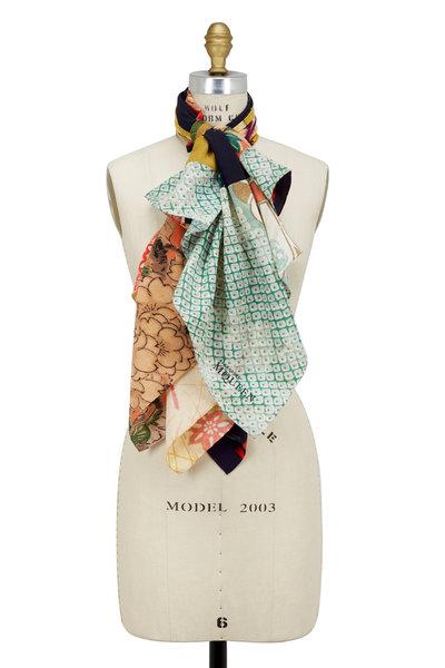 Alexander McQueen - Multicolor Silk Patchwork Print Scarf
