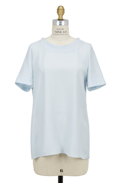 Kiton - Light Blue Silk Short Sleeve Top