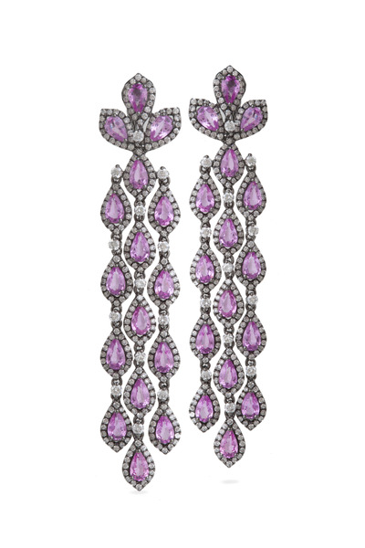 Bochic - Pink Sapphire Diamond Cascade Earrings