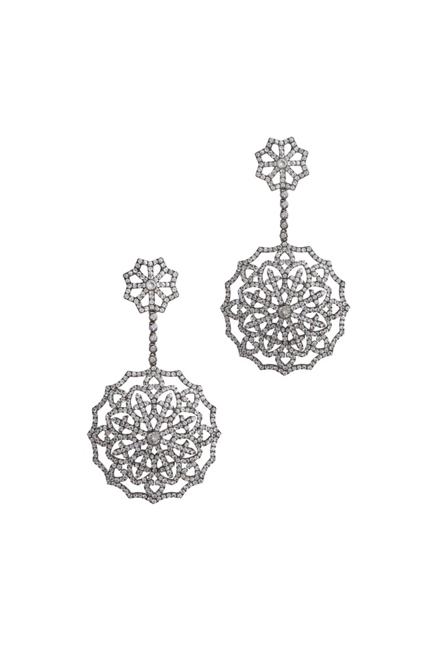 White Gold & Sapphire Snowflake Earrings