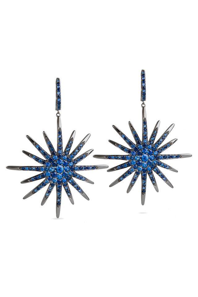 White Gold & Blue Diamond Star Earrings