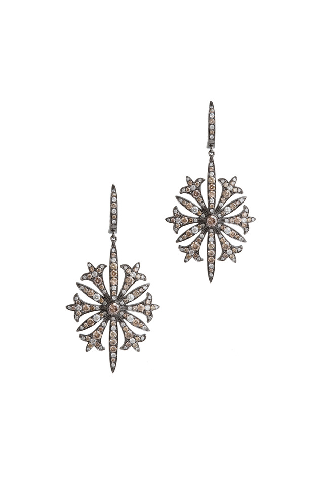White Gold Diamond Starburst Earrings