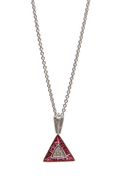 Oscar Heyman - Platinum & Gold Ruby Diamond Pendant Necklace