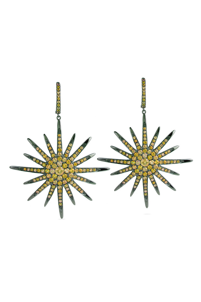 Yellow Gold & Sapphire Star Earrings
