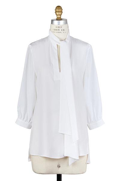 Kiton - White Silk Tie-Neck Three-Quarter Sleeve Blouse