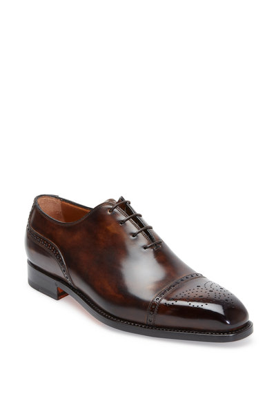 Bontoni - Del Corso Chocolate Leather Cap-Toe Oxford