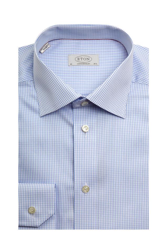 Light Blue Check Contemporary Fit Dress Shirt