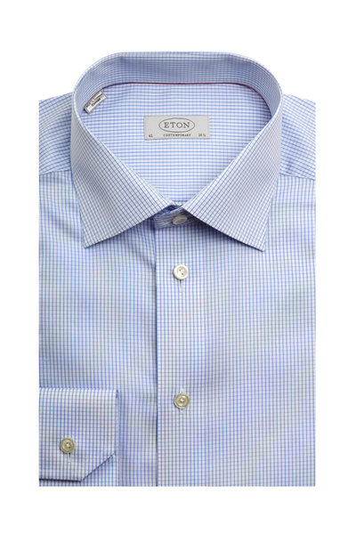Eton - Light Blue Check Contemporary Fit Dress Shirt