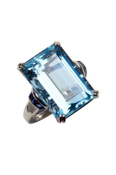 Oscar Heyman - Platinum Aquamarine & Diamond Cocktail Ring