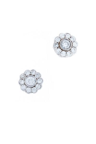 Jamie Wolf - White Gold Small Scallop Diamond Stud Earrings