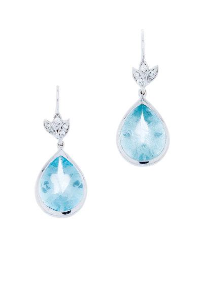 Jamie Wolf - White Gold Petite Leaf Diamond Drop Earrings