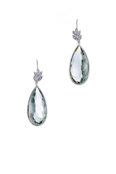 Jamie Wolf - White Gold Green Amethyst Diamond Drop Earrings