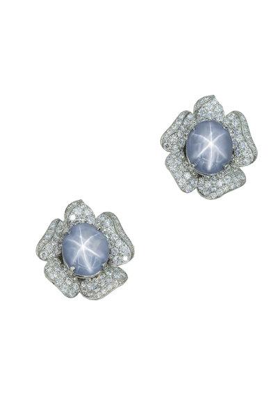 Oscar Heyman - Platinum Tahitian Pearl & Diamond Earrings