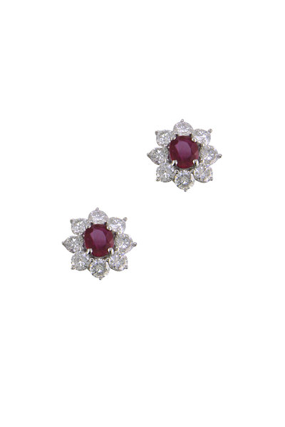 Oscar Heyman - Platinum Burma Ruby Diamond Flower Earrings