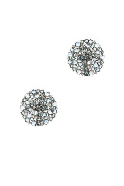 Paul Morelli - Gold Aqua & Diamond Larange Circle Clip Earrings