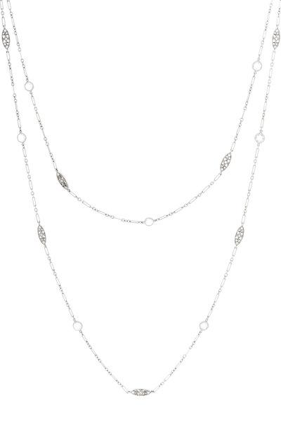 Kwiat - 18K White Gold Diamond String Necklace