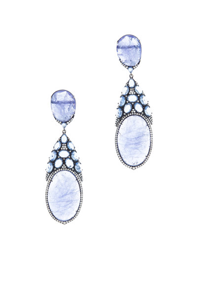 Sutra - Gold Tanzanite, Sapphire & Diamond Drop Earrings