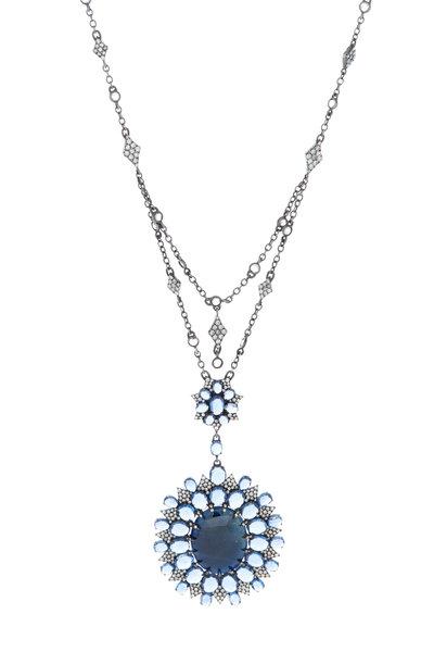 Sutra - White Gold Blue Sapphire Diamond Pendant Necklace