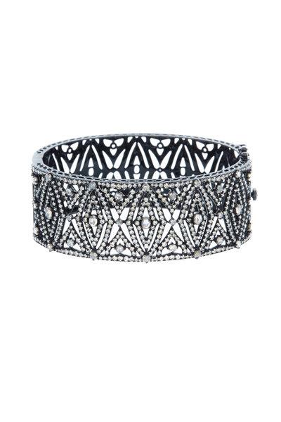 Sutra - White Gold White Diamond Cuff Bracelet