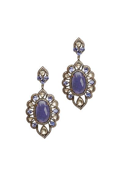 Loren Jewels - Gold & Silver Tanzanite Diamond Drop Earrings