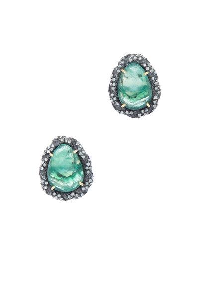 Loren Jewels - 14K Gold & Silver Emerald & Diamond Studs