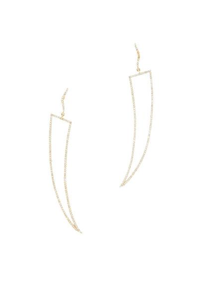 Loren Jewels - Yellow Gold Long Open Diamond Thorn Earrings