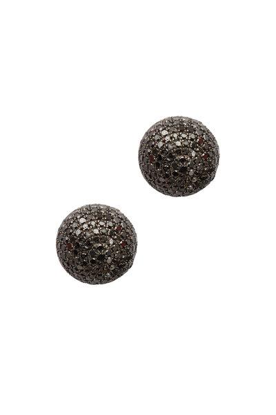 Loren Jewels - 18K Gold & Silver Black Diamond Ball Studs