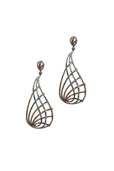 Loren Jewels - Gold & Silver Blue & Brown Diamond Drop Earrings