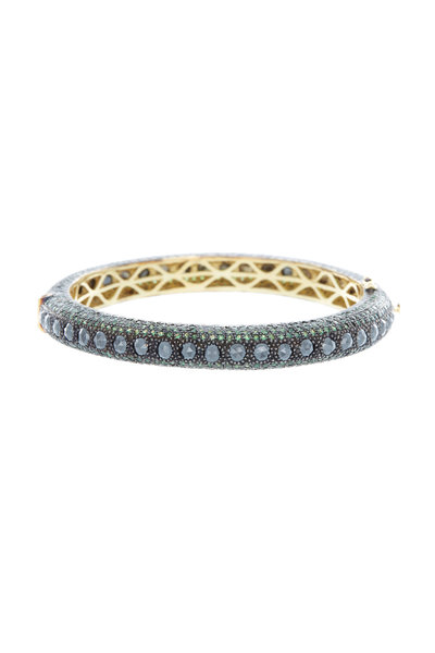 Loren Jewels - Gold & Silver Tsavorite Pavé Black Diamond Bangle