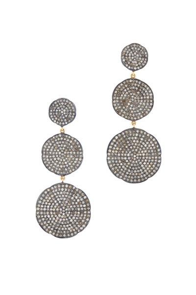 Loren Jewels - Gold & Silver Pavé Diamond Drop Earrings
