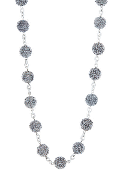 Loren Jewels - Sterling Silver Black Diamond Ball Necklace