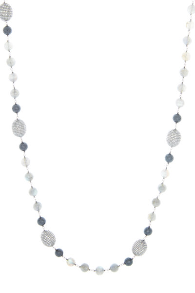 Loren Jewels - Sterling Silver Labradorite Onyx Diamond Necklace